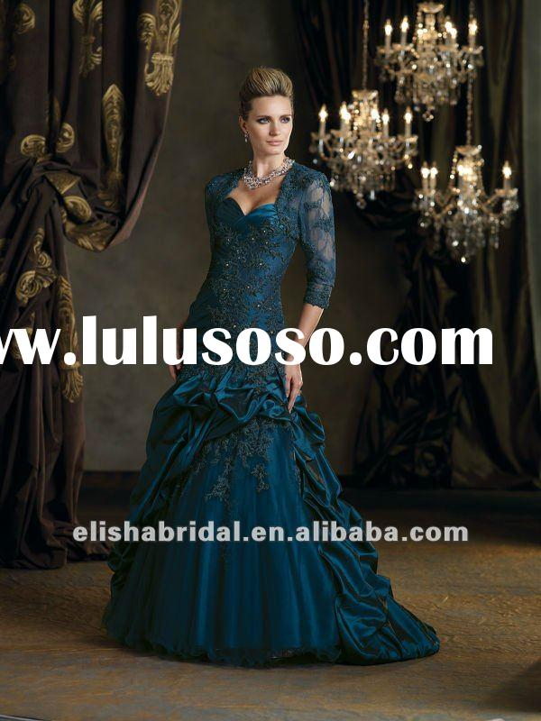 Tulle And Lace Ball Gown Midnight Blue Dropped Waistline Long Sleeve Evening Dress