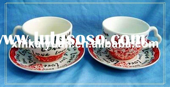 Valentine's coffee mug/coffee cup set with heart handle (100-921)