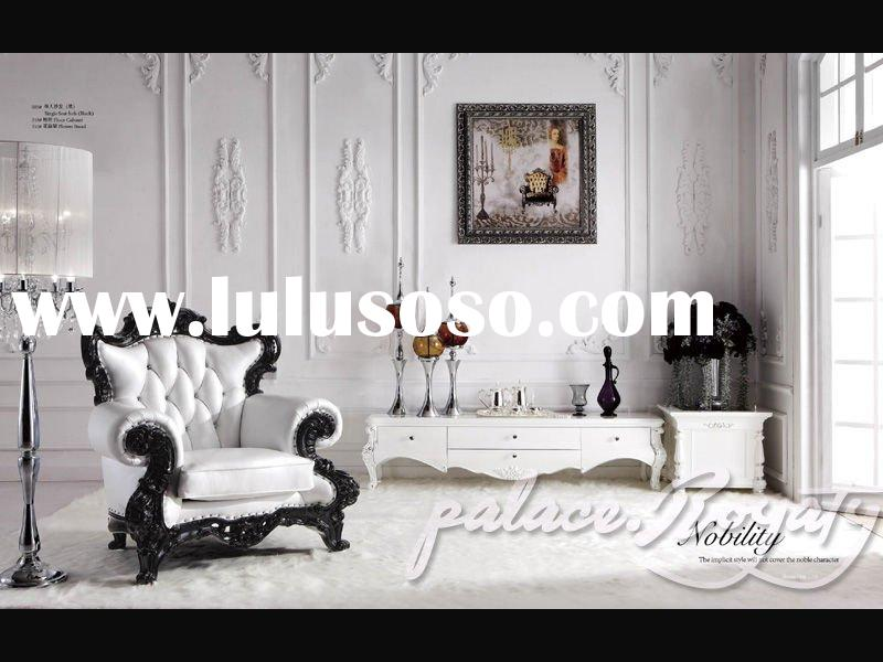 White leather sofa,French leather sofa/leather sofa/classic sofa/luxurious leather sofa/rococo sofa