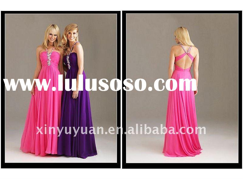 Wholesale 2011 Fashion Sheath Purple Strapless Chiffon Beaded Gown Evening Dress Night Party Gowns D