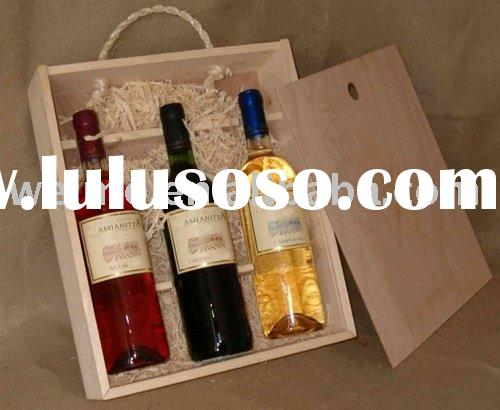 Wooden wine gift box for three bottles
