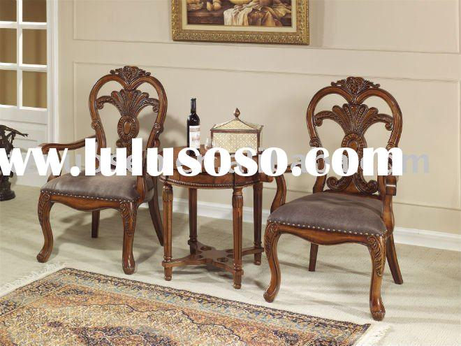 antique wooden cafe table and two chairs NS-8808