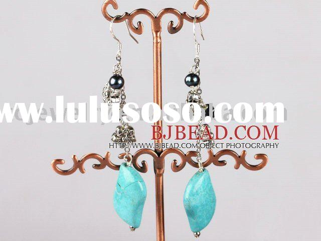 black pearl and turquoise long earrings with 925 silver hook