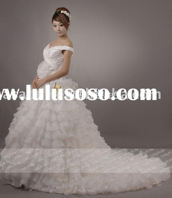 cinderella wedding dress Landybridal Own Model Organza Ball-gown wedding dresses--LD0358(Best Qquali