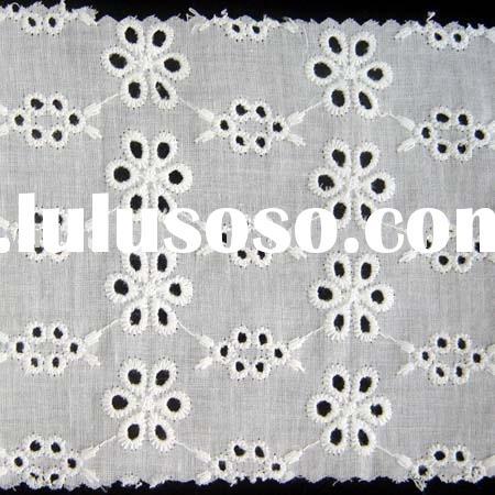 cotton embroidery eyelet lace fabric / lace fabric