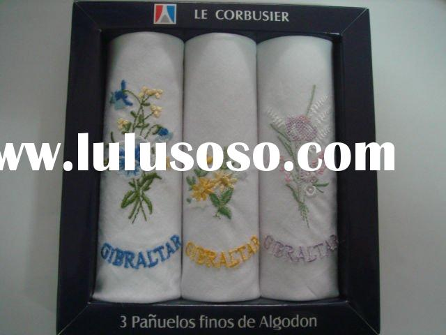 embroidered lady handkerchiefs (gift box)/cotton ladies handkerchief/lacehandkerchief