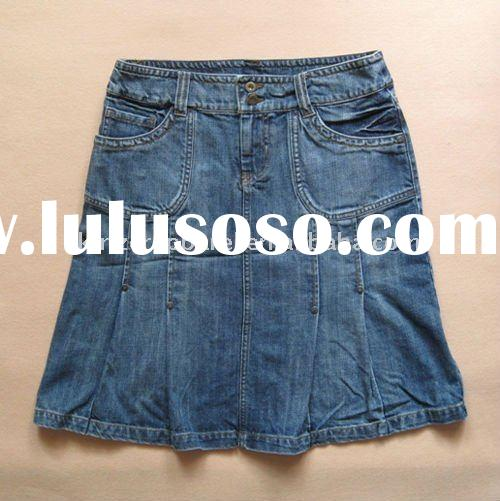 fashion blue cotton ladies jeans skirt