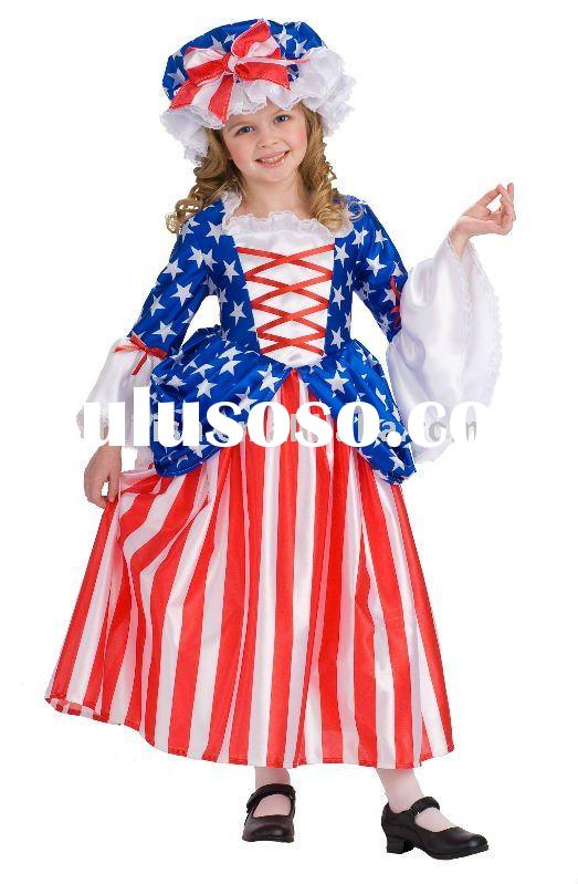 halloween children chinese National Flag of USA fancy dress costumes for kids MAC-0436