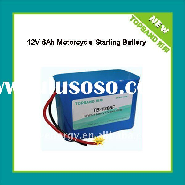 high light 12v 6ah rechargeable battery for motorcycle