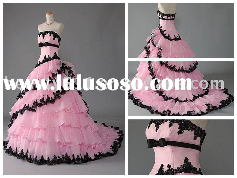 layered pink black lace trailing wedding dress,bridal gown prom dress MR-2-0060