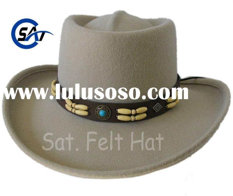 men's fashion 100% wool felt cowboy style gambler hat