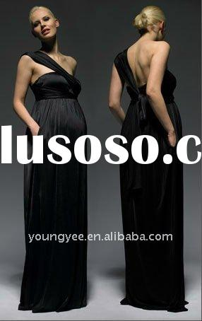 new style black one shoulder prom dress pregnant women dresses 2011 latest dress designs,party dress