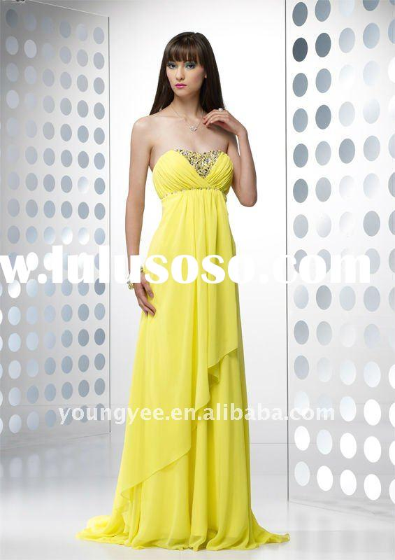 new style yellow chiffon strapless prom dress pregnant women dresses 2011 latest dress designs,party