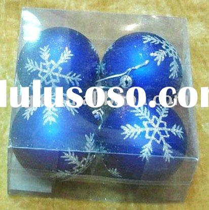 plastic christmas ball gift box/ Christmas hanging ball with hand painted white snowflake