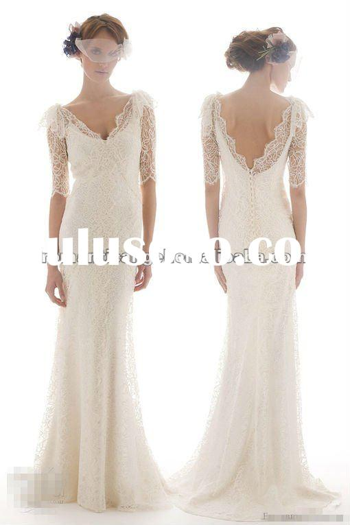 plus size long sleeve lace real wedding dress