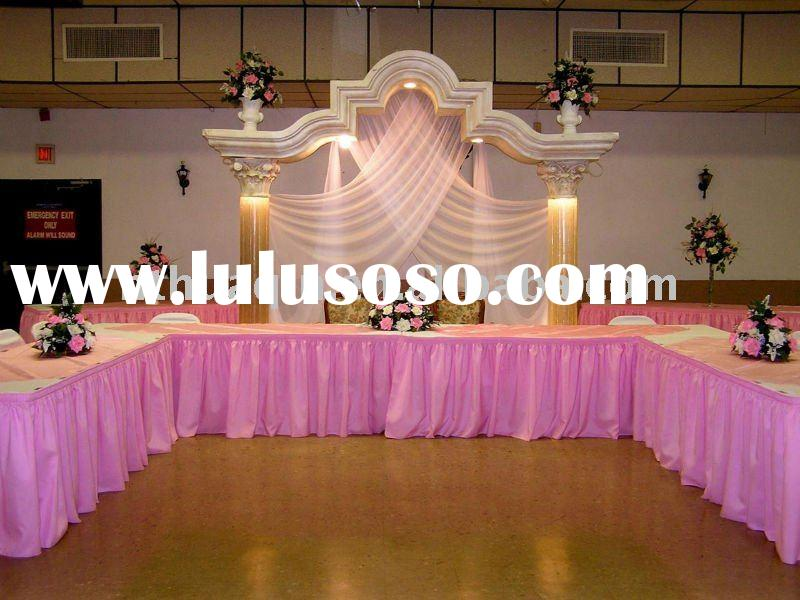 Polyester Shirred Table Skirting Skirts For Wedding And Banquet
