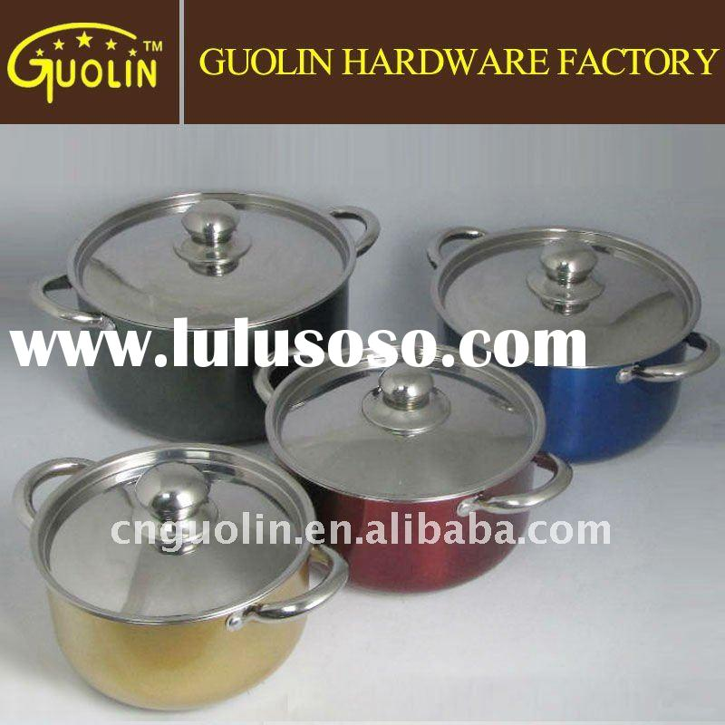 stainless steel cookware set with color