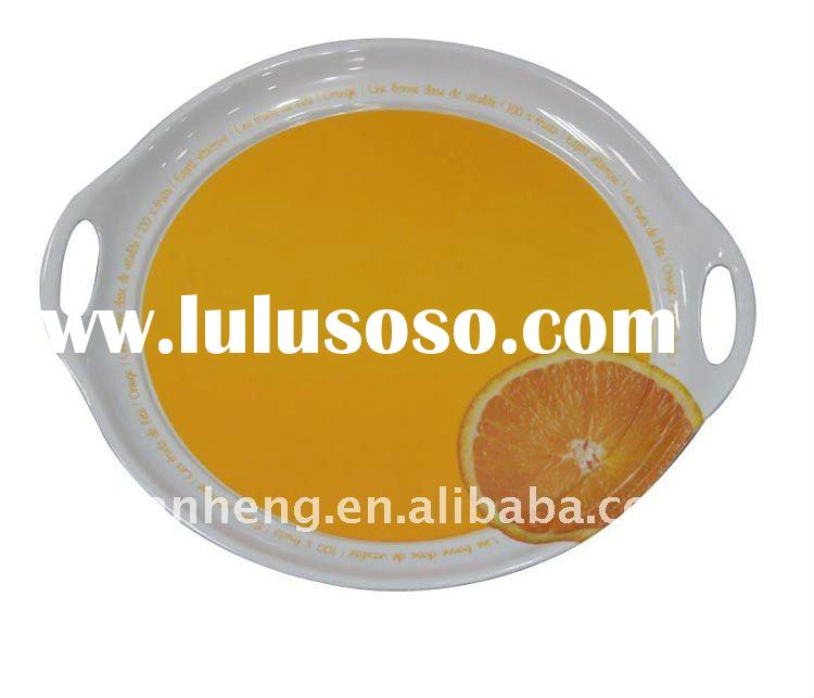 yellow round melamine serving tray