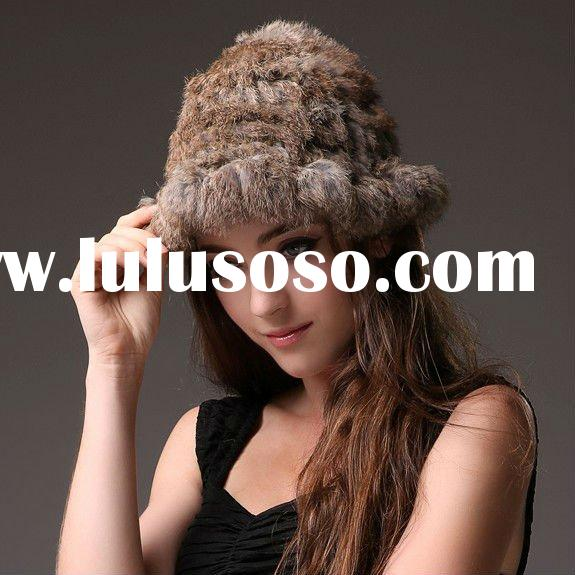 0240 Genuine Rabbit Fur Hat Winter Fur Headdress Warm Fashion Cap Hats Headgear