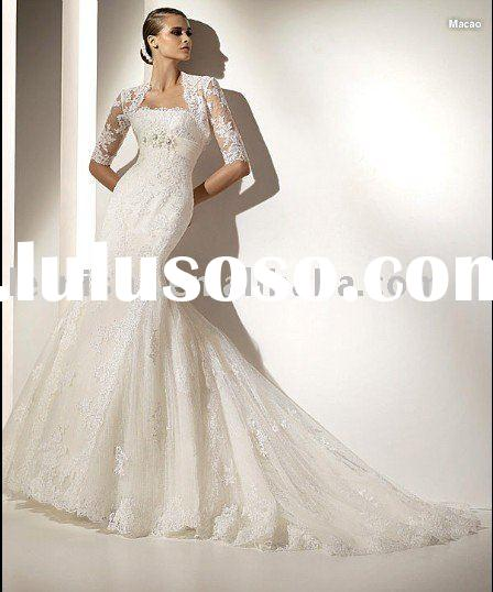 2010 European style short sleeve lace bridal gown LFS1141