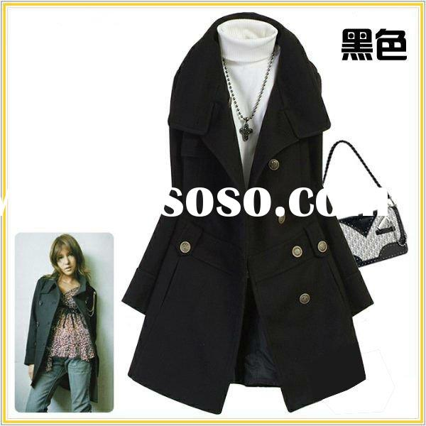 2011 High-quality stand-collar black lady wool blend coat