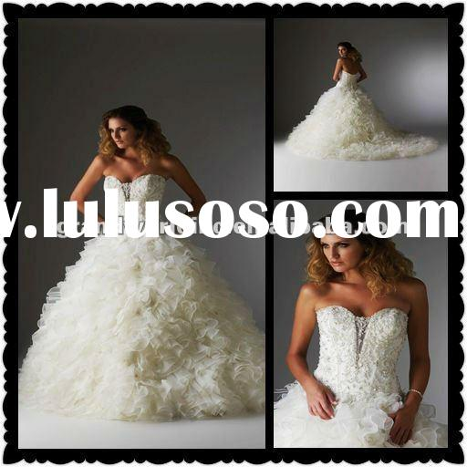 2012 Hot Sell Best Price High Quality Organza Ball Gown Beaded Wedding Dresses Bridal BOQ-001