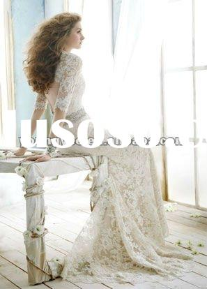 2012 New dream grance embroidered A line full lace long sleeve bridal wedding dress gown (CWD13)