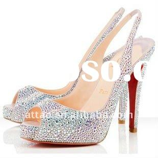 2012 Silver diamond wedding high heels shoes/red sole dress shoes