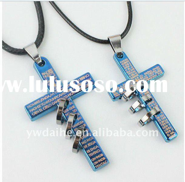 2012 Valentine's Day popular hot sale cross pendant leather chain couple necklace DH1106040