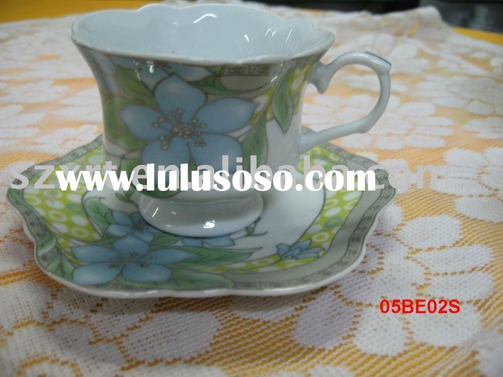 220cc flower shape porcelain tea cup and saucer