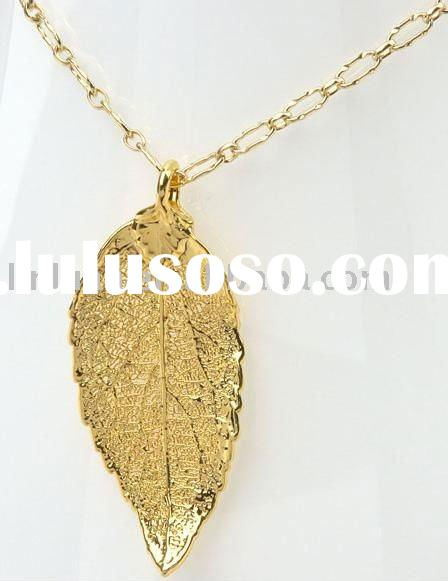 24K real gold natural leaf necklace
