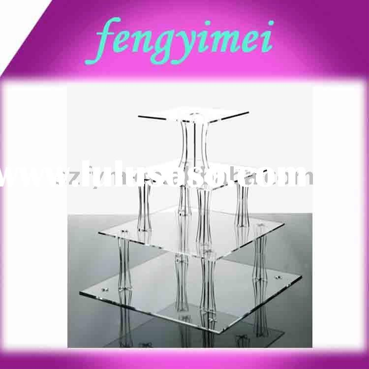 4-Tier Square Acrylic Cupcake stand.Perspex Cake Holder,Lucite Bakery Separator