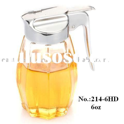 6 oz Glass Syrup / Honey Dispenser with plastic plated lid