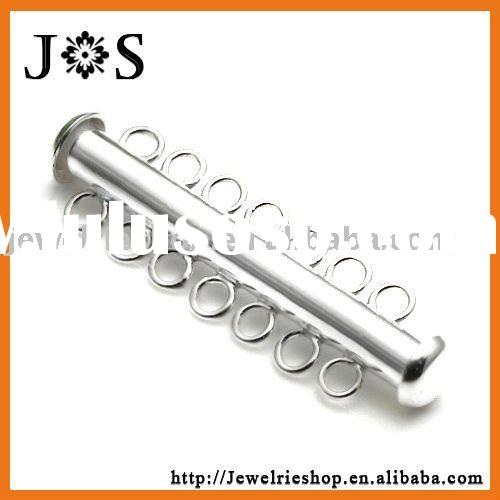 925 Sterling Silver Jewelry Tube Clasp With 5 Strand Slide Lock 30*4mm