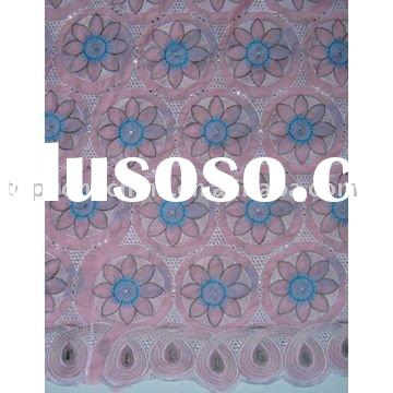 African voile fabric lace 90377 pink+sky blue+white
