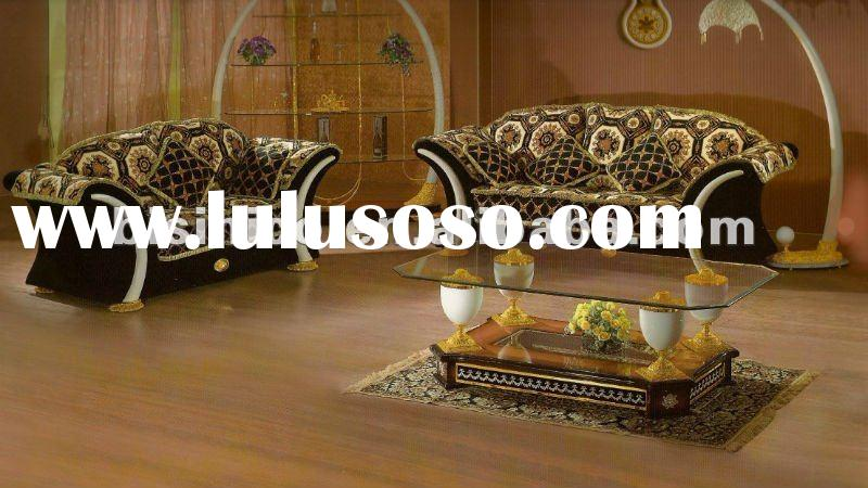 Black fabric wooden European style clasical Home Living room sofa set,MOQ:1SET(B6011)
