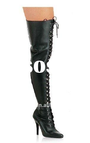Black stiletto thigh high lace-up leather boots with stretch PU and pointed toe sw1109 /fashion boot
