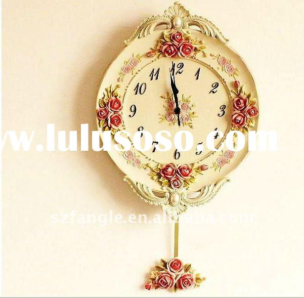Decorative wall resin pastoralism pendulum wall clock
