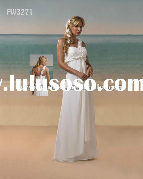 FW3271 Floor Length One Shoulder Chiffon Beach Wedding Dresses