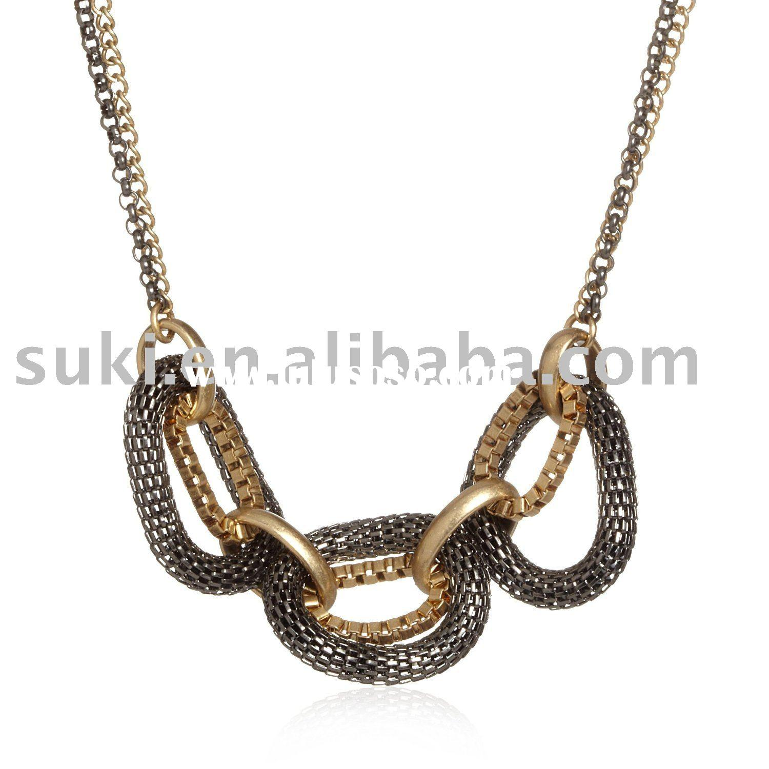 Fashion Necklace, New York Two-Tone Mesh Link Necklace