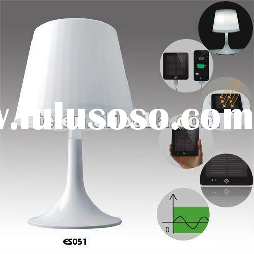 LED solar table lamp with mobile charger