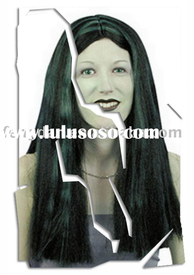 "LONG 18"" BLACK GREEN STREAKED WIG WITCH FANCY DRESS NEW"