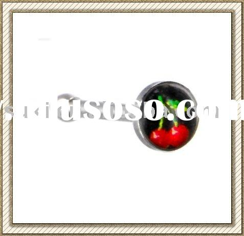 Logo Body Piercing jewelry, Surgical Steel Black and Red CHERRY Logo Nose Ring