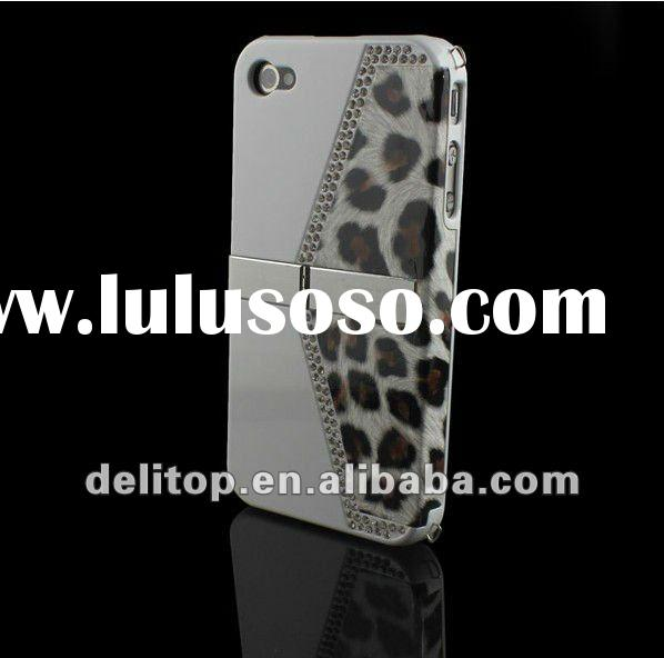 Luxury Leopard Diamond Stand Handbag Hard Back Case For Apple Iphone 4G White