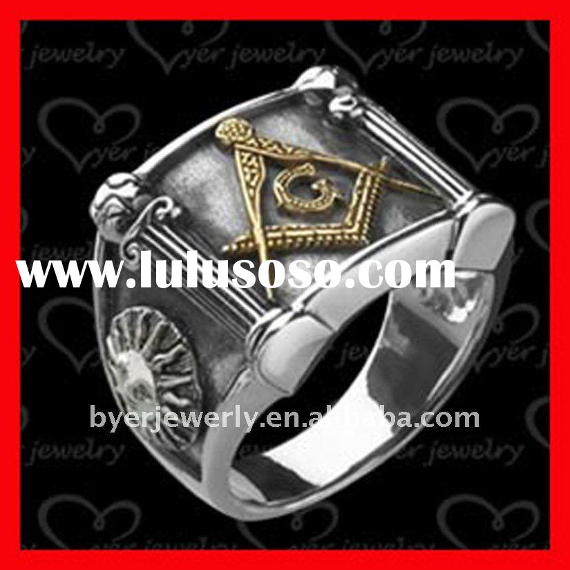 Masonic Rings, stainless steel, polished and antique design
