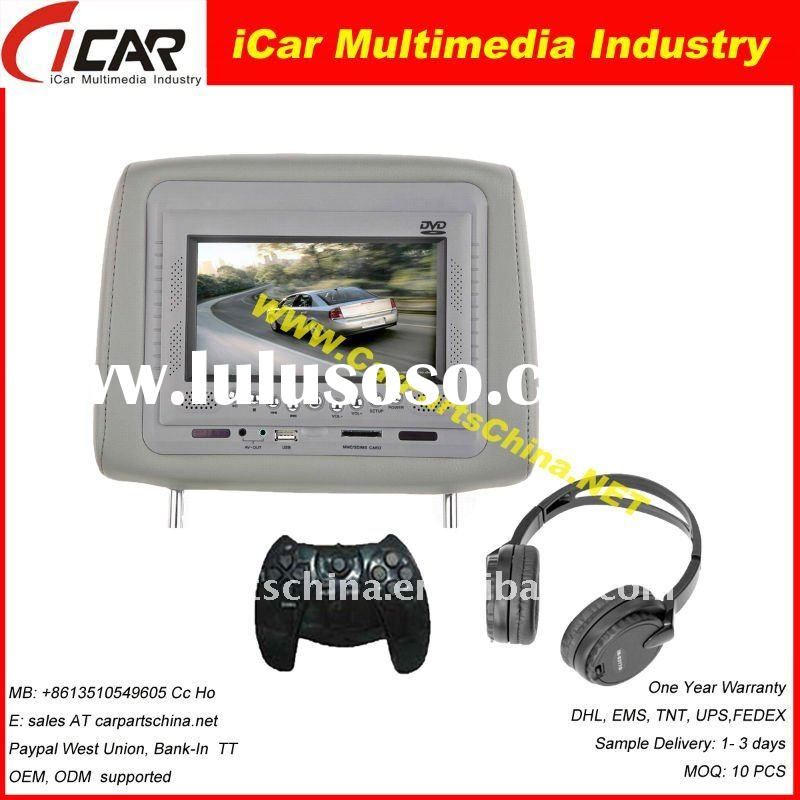 "Model: 21V7 7"" Headrest Car DVD Player with USB/ SD slot, Game system Headrest dvd pioneer car"