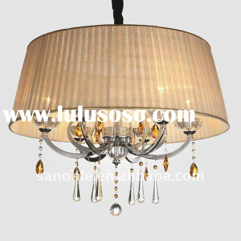 Modern Crystal Chandelier Crystal Light with Fabric Cover for Indoor Decoration