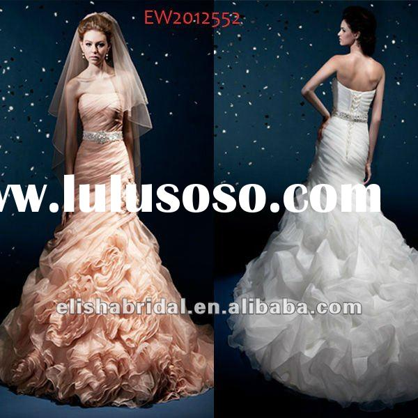 Pink Mermaid Strapless Ruche Bodice Crystal Beaded Belt Droped Bodice Organza Wedding Dress 2012