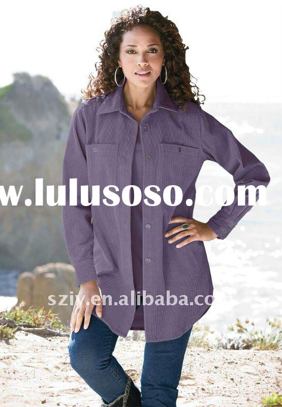 Plus size big shirts - corduroy big shirt women office shirt