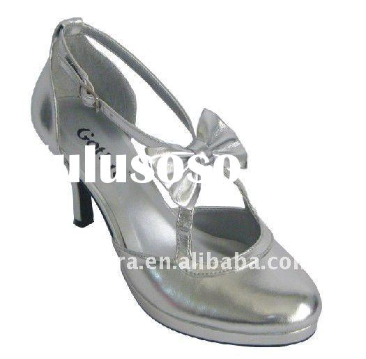 Romantic silver high heel dress shoes with bowknot/girls fashion high heel shoes